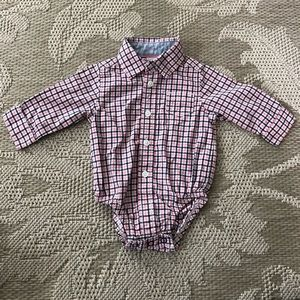 Navy and Pink Plaid Carters Collared Onesie